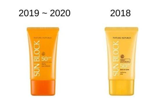 2018~2020年の製品パッケージ比較