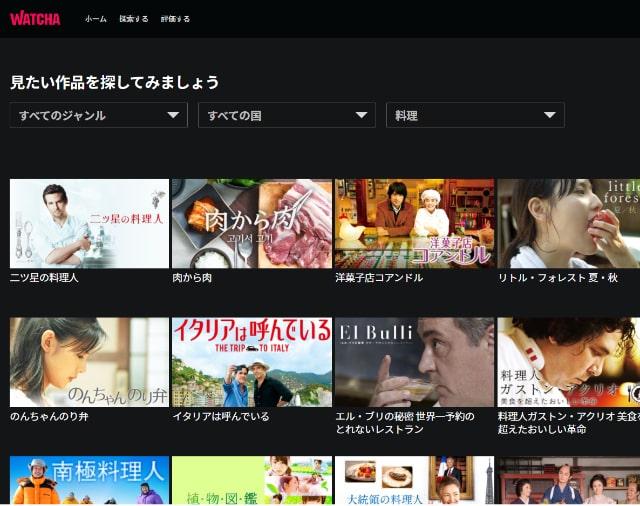 WATCHA料理映画検索画面